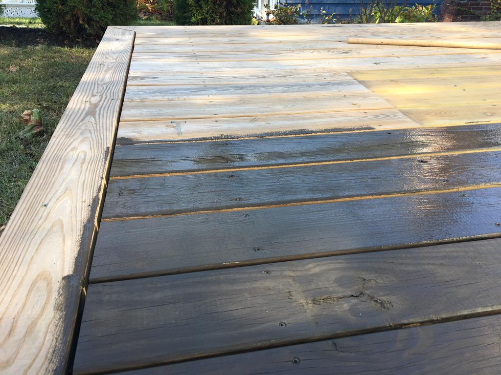 Dark Stained Deck Plaster Disaster