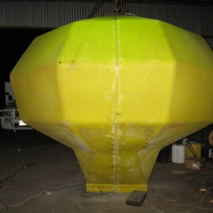 Air seeder bin repaired after splitting for shipping from USA