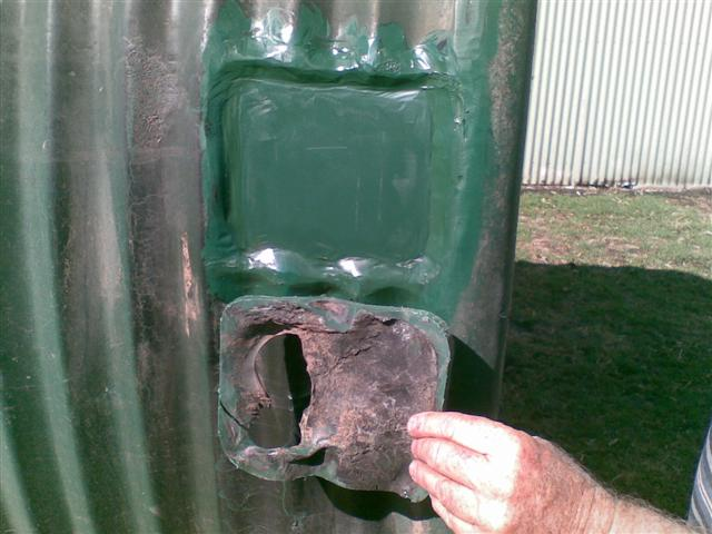 Replaced fire damaged section of tank after Remlaw (Horsham) fire Black Saturday
