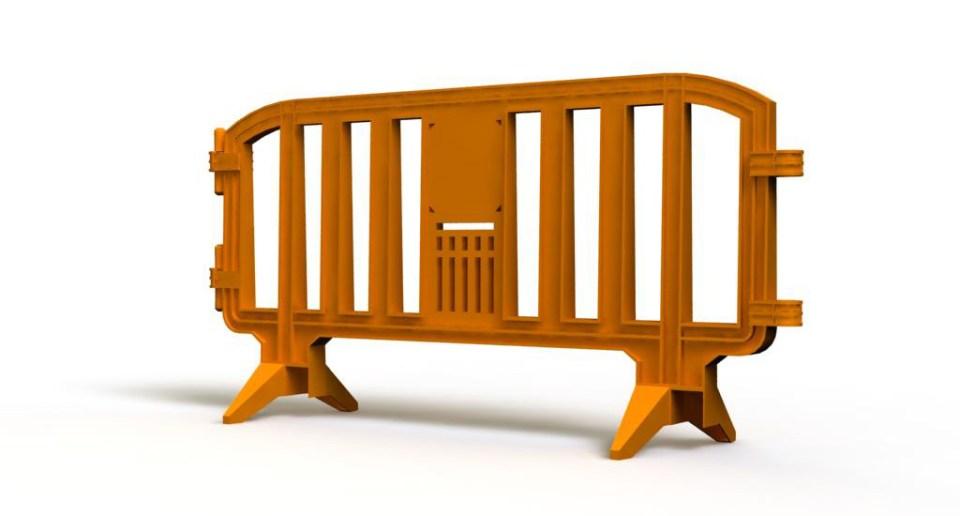 Orange plastic barrier