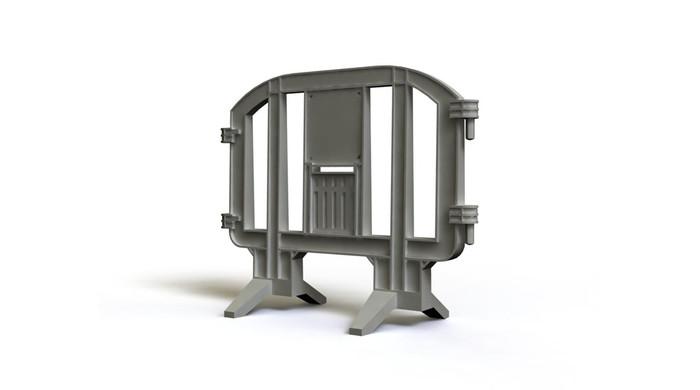 Gray plastic jersey barrier