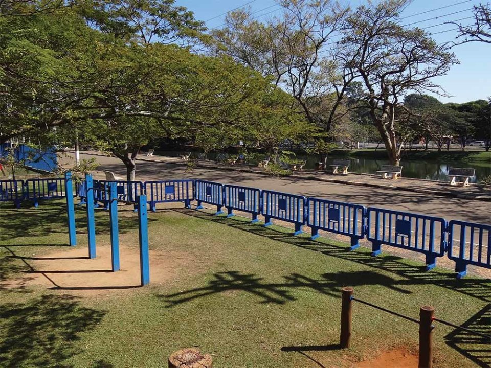 Plastic barriers at park