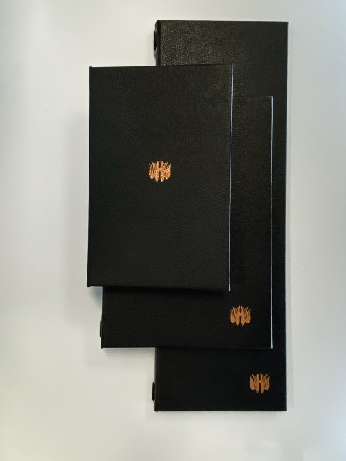 Leather menu with gold foil logo