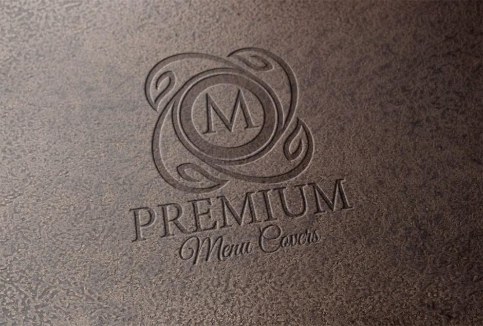 deboss logo on leather menu