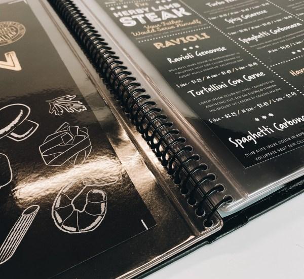 coil bound menu