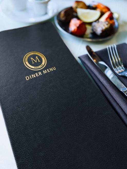 dark blue menu cover