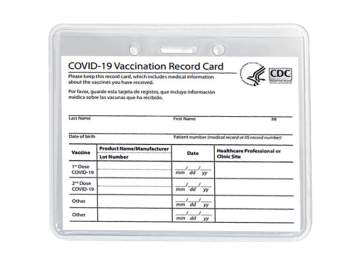 Clear vaccination card holder