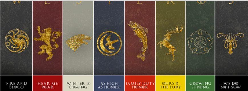 "SPOILER ALERT: The Major Houses In ""Game Of Thrones"""