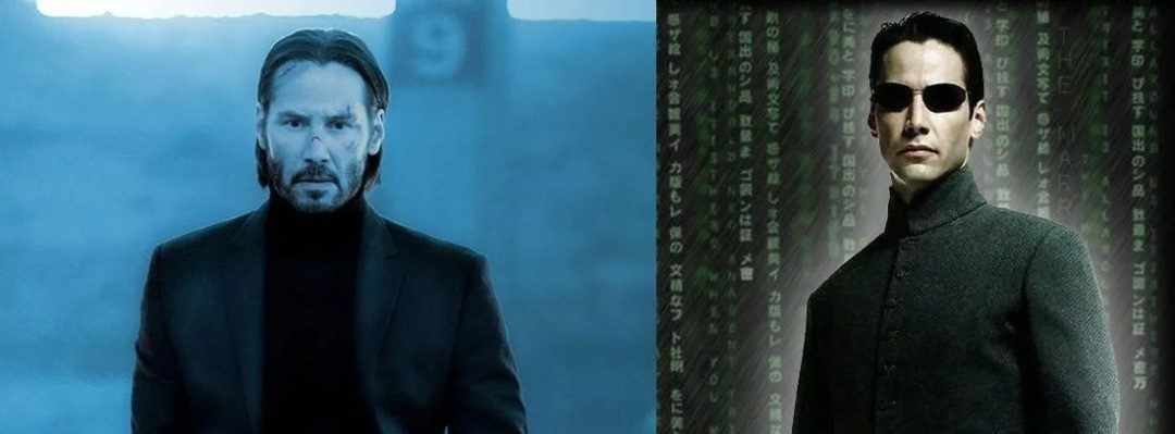 Keanu Reeves in The Matrix and John Wick