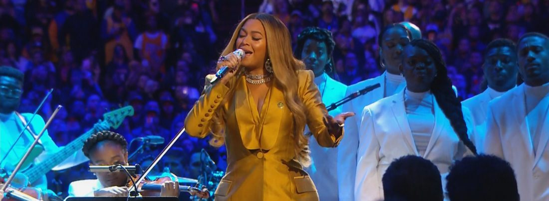 Beyonce performing at Kobe Bryant memorial