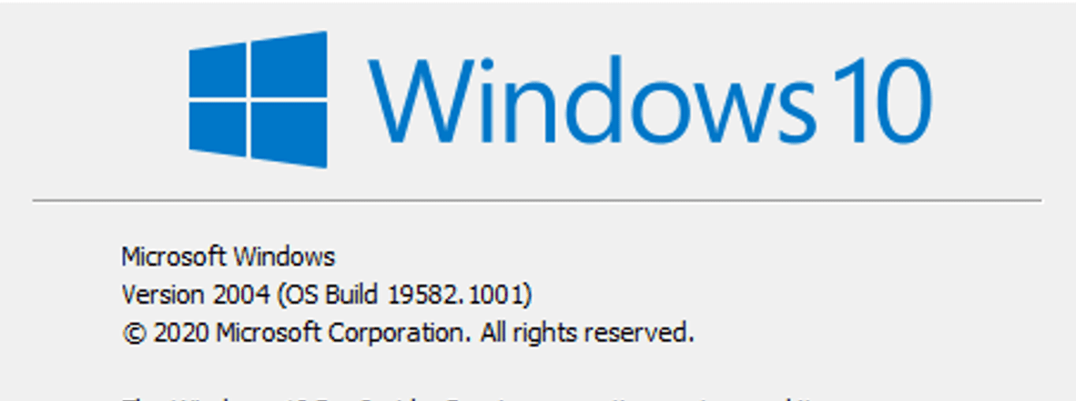 Windows 10 version 2004 update