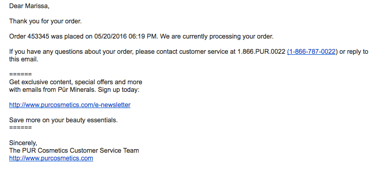 PUR-cosmetics-order-confirmation