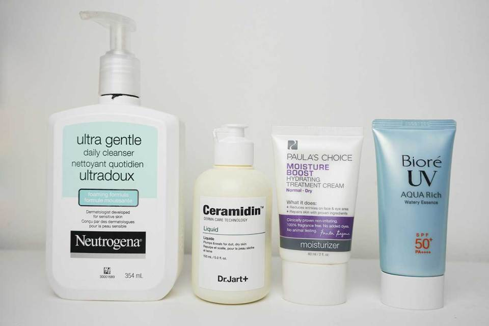 The AM Dream Team! I don't always wash my face in the morning since I'm religious about washing it before bed. I use the Neutrogena Ultra Gentle Foaming Cleanser. In the morning I'll rinse my face with warm water, pat it dry, and apply the Dr. Jart+ Ceramidin lotion. This is a super hydrating and repairing serum. I follow with my holy grail moisutrizer, Paula's Choice Moisture Boost Hydrating Treatment Cream. Once that sinks in, I follow with the Biore UV Aqua Rich PA++++ sunscreen.
