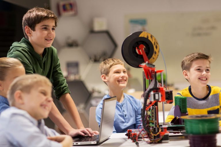 happy children with 3d printer