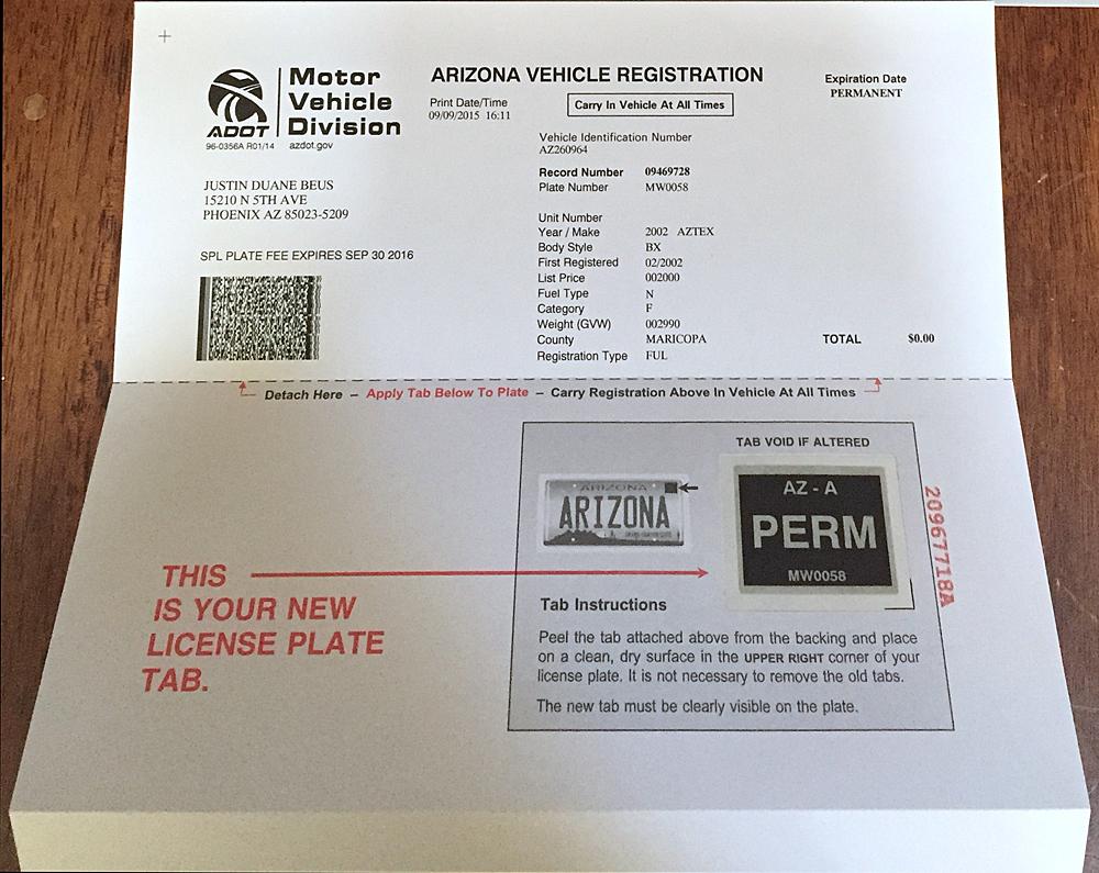 Car registration fees az