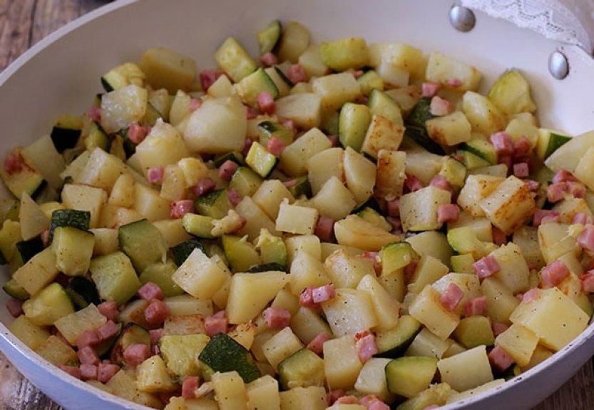 poêlée de pommes de terre et courgettes au jambon WW