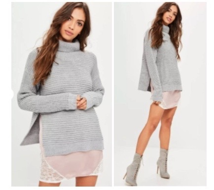 5df49237e Grey roll neck step hem knitted jumper from Missguided – £20. fashion