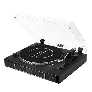 1byone Platine Vinyle Tourne-Disque Semi-Automatique avec Courroie 3 Vitesses avec Cartouche magnétique, Contrepoids Réglable, Enregistrement de Vynile vers MP3