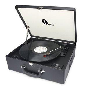 1byone Platine Vinyle Transportable, Tourne Disque 3 Vitesses Avec Enceintes Interne, Bluetooth intégré Prise USB pour MP3, Noire