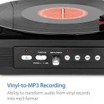 1byone Tourne-Disque Platine Vinyl Noir Trois Vitesses avec Intégrées, Supporte des Vyniles et Enregistrements MP3, Playback, Jack Stéréo, Pitch de Contrôle et sorties RCA