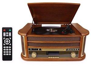 D&L 7-en-1 Dab Plaque tournante en Bois Vintage avec Bluetooth, Radio FM, Haut-parleurs Stéréo Intégrés, CD / MP3 / Cassette Play, USB Play & Encodage