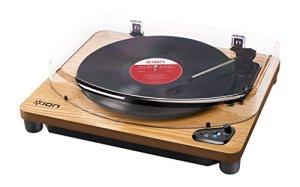 ION Audio Air LP – Platine Vinyle Bluetooth à Trois Vitesses avec Conversion USB – Finition Bois