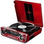 ION Audio – Mustang LP – Chaîne hi-fi rétro Ford Mustang 4-en-1 avec platine vinyle, radio, port USB et prise AUX, ainsi que des puissantes enceintes stéréo intégrées – Finition Rouge