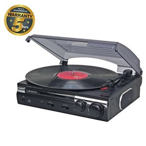 Lauson CL 145 Platine Vinyle USB   Convertisseur Vinyle à MP3   33/45 RPM   Tourne-Disque avec Haut-Parleurs Intégrés. (Noir)