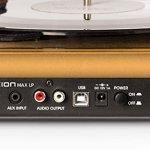 ION Audio Max LP – Platine Vinyle de Conversion avec Trois Vitesses et Enceintes Stéréo, Sortie USB pour Convertir des Vinyles aux Formats Numériques, Sorties RCA et Sortie pour Casque Audio – Finition en Bois Naturel