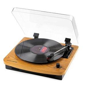 Musitrend Platine Vinyle Tourne Disque à Trois Vitesse 33/45/78 avec Haut Parleur Stéréo Intégré port de connecteur RCA Support électrophone à Enregistrement MP3 fait de Bois Naturel
