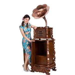 JJSSGGJJLLSSJJ Tourne-disque 3 vitesses 33, 45, 78 disque vinyle machine / mouvement de tube en aluminium triangulaire / Bluetooth / pickup ruby / adapté pour salon salle à manger chambre à coucher 560x490x1810mm