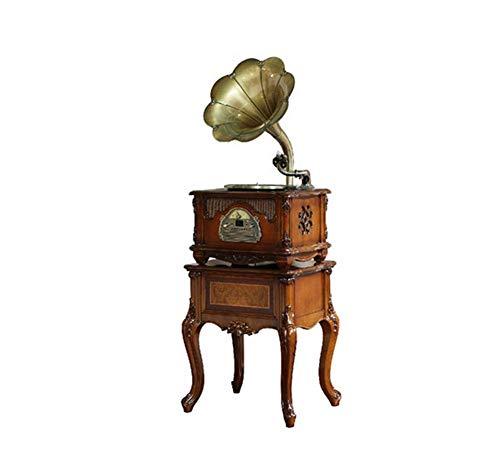 LSJ Platine Vinyle, Vintage Phonographe Conversion avec Trois Vitesses 33/45/78 Tours Soutien Port USB Lecture Bluetooth Lecture de CD Sortie Audio,B