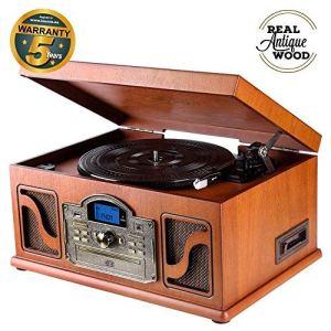 Lauson Système Stéréo avec Platine Vinyle | Tourne Disque Rétro | Bluetooth | Port USB | Tourne-disques avec Haut-Parleur | CD MP3 Player | Cassette – Radio | Aux in | RCA | CL612 (Bois Naturel)
