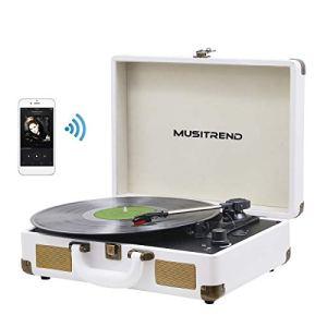 MUSITREND Platine Vinyle Tourne-Disques Valise Portable avec 2 Haut Parleurs IntéGréS, Blanc