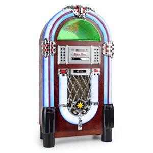 Auna Graceland TT • Jukebox • Platine Vinyle • Prise USB • Slot SD • Interface Bluetooth • Lecteur CD • Compatible MP3 • Éclairage LED • Entrée AUX • 33, 45, 78 U/Min • Marron
