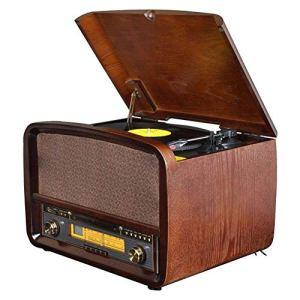 XiaoZou Tourne-Disque Bluetooth Classique en Bois Nostalgic Classic Centre de Divertissement Tourne-Disque de Base rétro Classique de for Lecteur de disques, Lecteur de CD à 3 Vitesses, Lecteur d