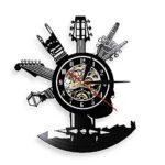 Nzlazbc Guitare Design Vinyl Record Horloge Murale avec Rétro-Éclairage LED Guitare Instrucment LED Veilleuse Suspendue Montre Musique Amateur Cadeau