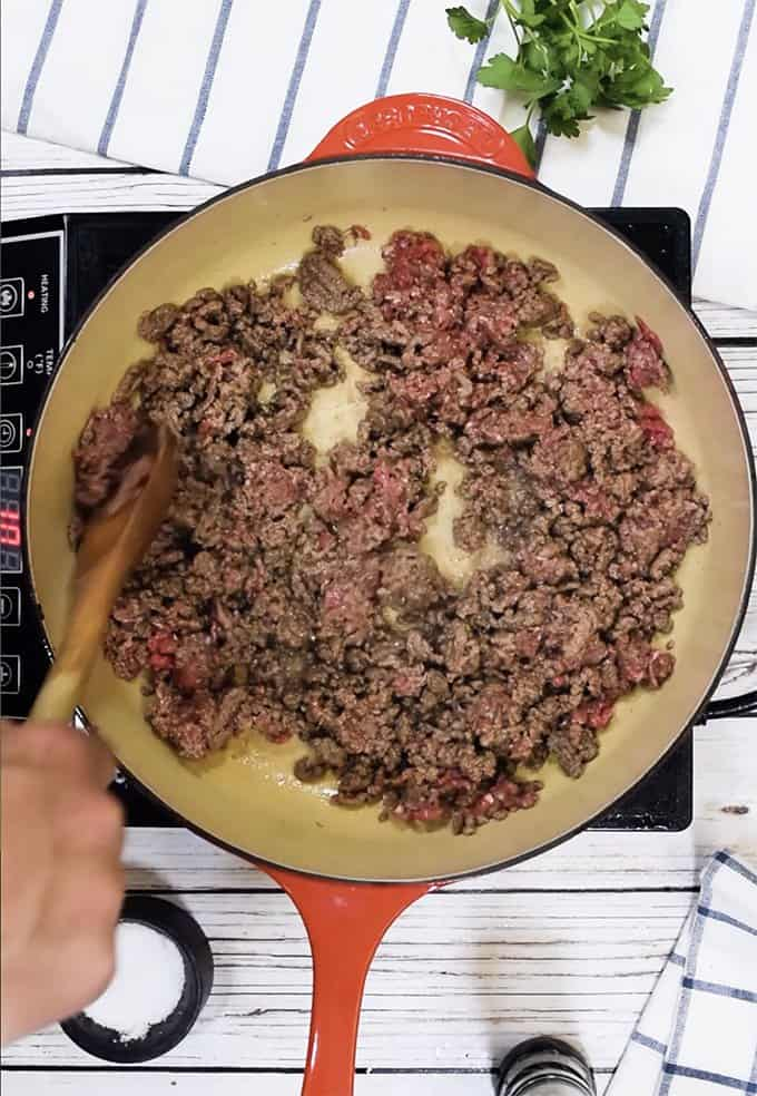 Browning ground beef for beefaroni.