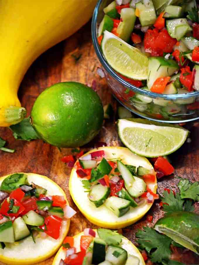 Green salsa with squash.