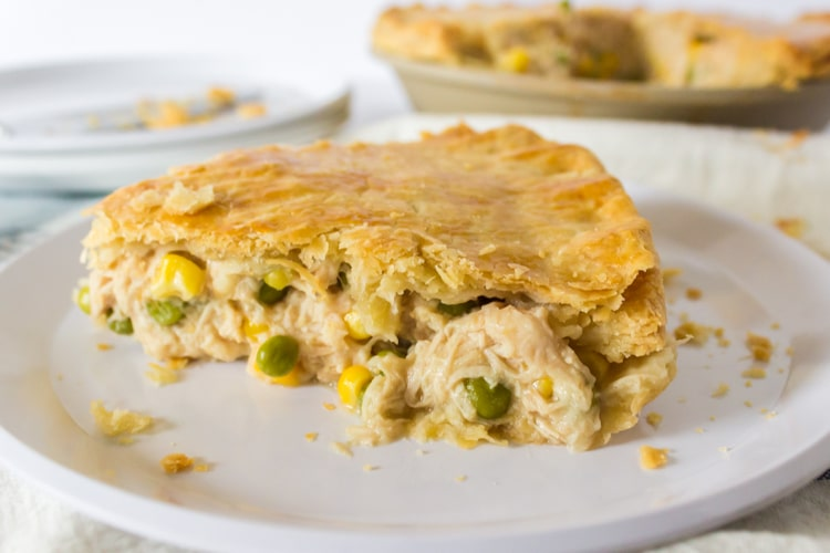 Serving of homemade turkey pot pie on a white plate
