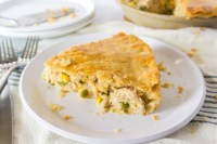 Slice of homemade turkey pot pie.