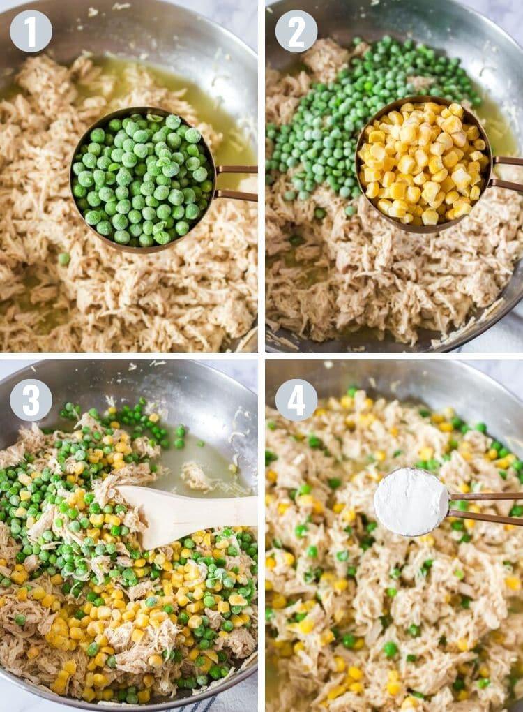 Process steps to making homemade turkey pot pie.