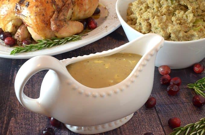 Giblet turkey gravy and southern cornbread dressing.