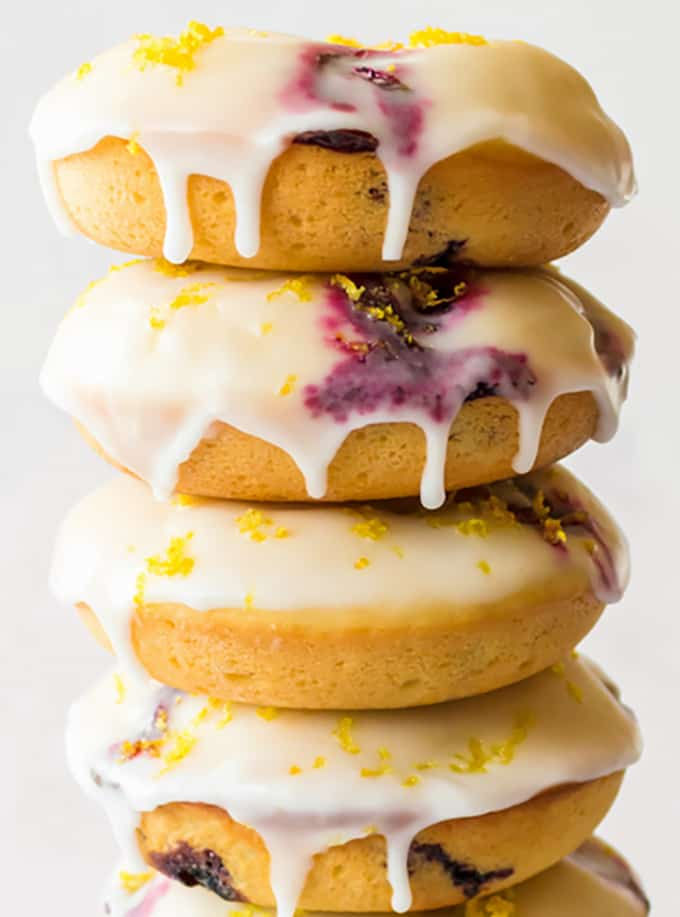 stack of baked blueberry donuts