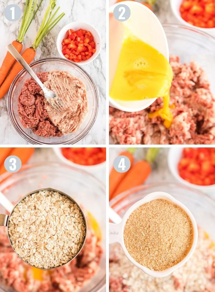 Process steps of making meatloaf, showing the ingredients being mixed.