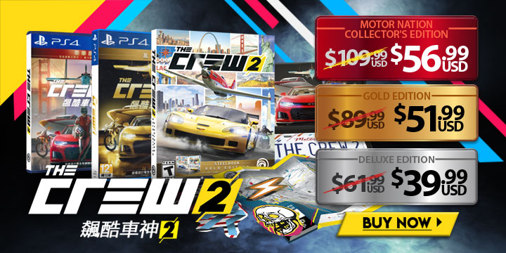 The Crew 2, Asia, price, gameplay, features, trailers, PlayStation 4, Deluxe Edition, Gold Edition, Motor Nation Collector's Edition, Limited Edition 561357 - Regular Edition