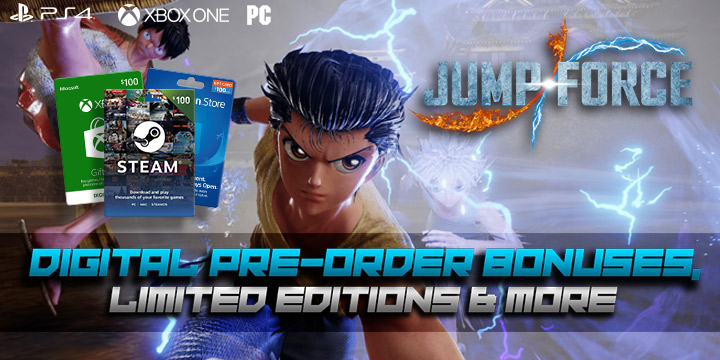 Jump Force, PlayStation 4, Xbox One, release date, gameplay, price, features, US, North America, Europe, update, digital, digital pre-order bonus, limited editions, avatar
