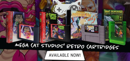 mega cat studios, game cartridge,classic game, US, north america, buy now, now available, little medusa, coffee crisis, log jammers, fork parker's crunch out, mega cat studios games