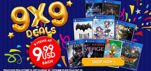 Flash sale, 9x9, Sale, Dragon Quest Heroes: The World Tree's Woe and the Blight Below, Fallout 4, Gal Gun: Double Peace, Batman: The Telltale Series, Middle-earth: Shadow of War, Star Wars Battlefront II, Soldam: Drop Connect Erase, Dishonored: Death of the Outsider, Axiom Verge
