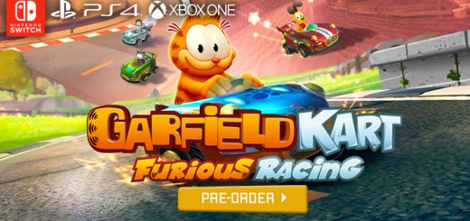 garfield kart: furious racing, garfield game , nintendo switch, switch,ps4, playstation 4, xone, xbox one, north america, us, eu, europe, pre-order, gameplay, features, price, microids, artefacts studio, garfield kart